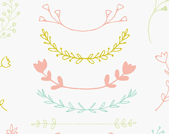 Partial flower wreath clipart.