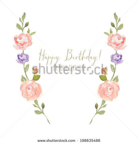 Watercolor Peony Branches Spring Flower Laurel Stock Vector.