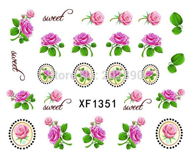 1sheets Beauty Flower Laurel Rose Nail Art Watermark Tattoos.