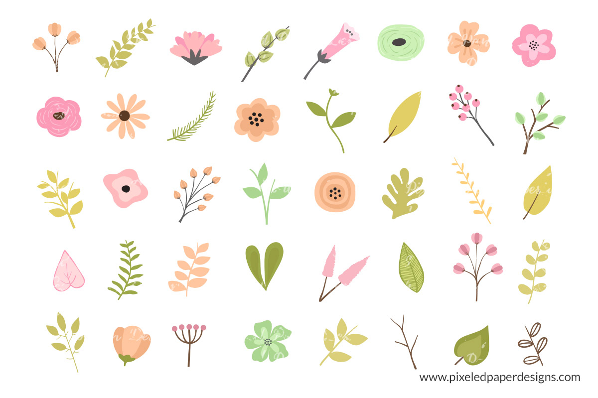 Rustic Flower Clipart.