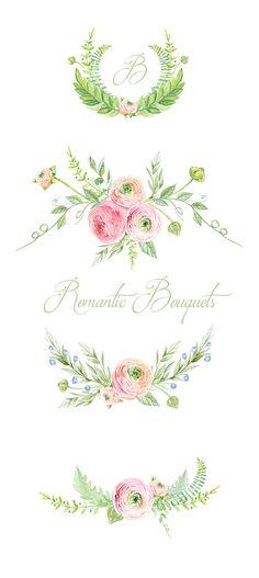 Laurel Wreath, Aquarell Hand Painted Clipart, Hochzeitseinladung.