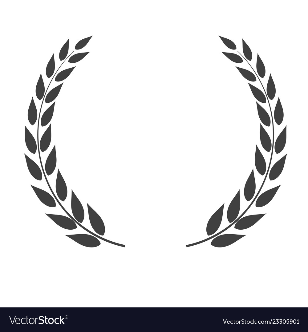 Laurel wreath shape isolated on white background.