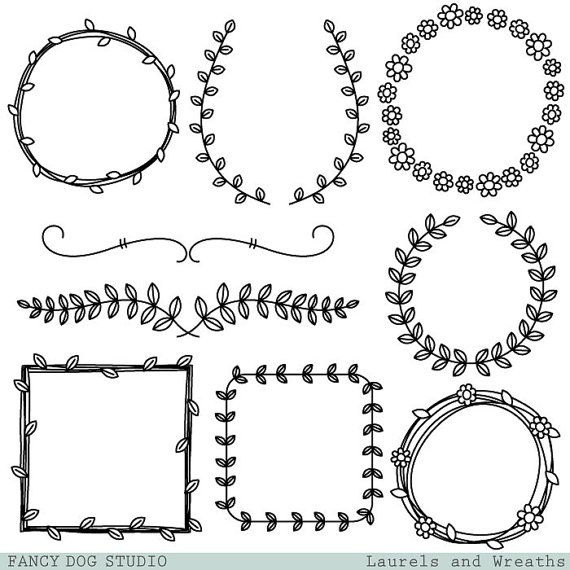 Wreaths and Laurel Clipart Graphics, Borders and Frames for.