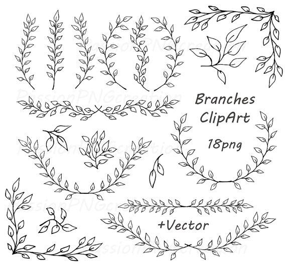 Digital Branches ClipArt, Laurel Wreath, Digital Wreath.