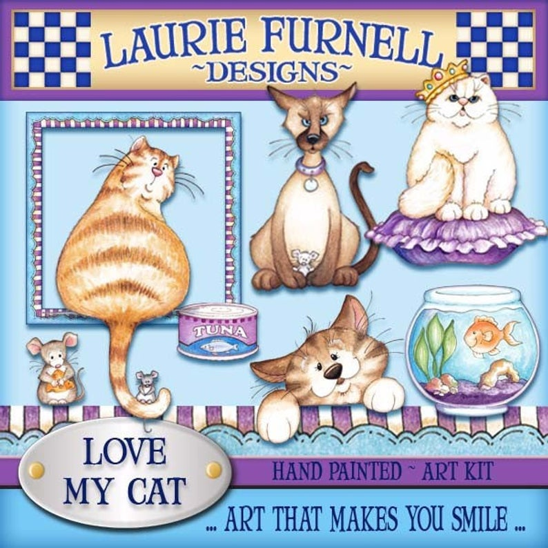 Cat clipart, Laurie Furnell, Cute cat art, scrapbooking supply,  papercrafts, cardmaking supply, Watercolor clipart, printable art, colorful.