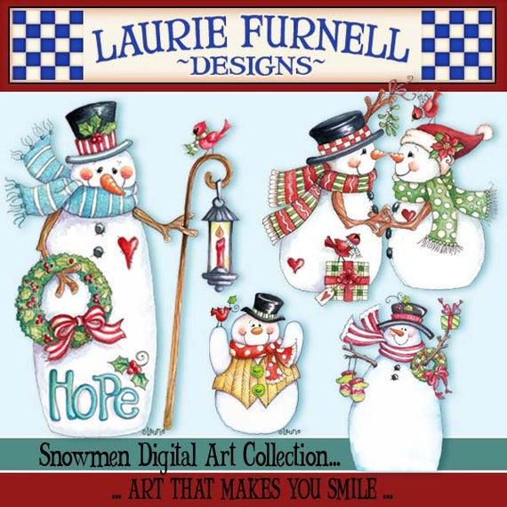 Snowman Clip Art, Laurie Furnell, Christmas Clip Art, Holiday Clip Art,  Christmas Paper crafts, Holiday Card Making, Watercolor Clip Art.