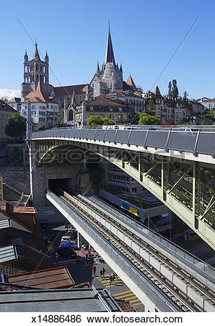 Stock Images of Lausanne cathedral and Pont Bessiers x14886486.