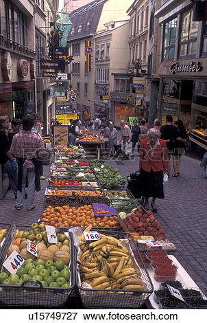 Picture of outdoor market, Switzerland, Lausanne, Vaud, Produce.