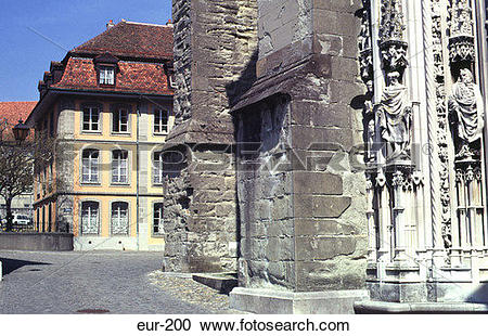 Stock Photography of Rue Cite Devant Cathedral Lausanne.