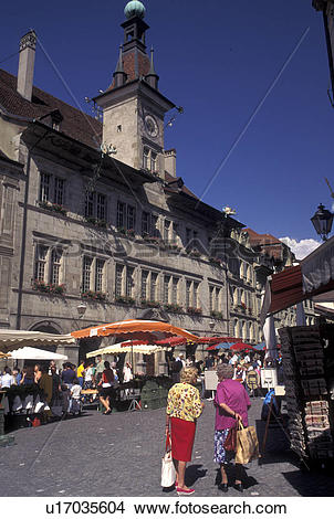 Stock Photo of street market, Lausanne, Switzerland, Vaud, Market.
