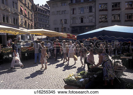 Stock Image of street market, Lausanne, Switzerland, Vaud, Market.