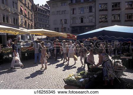 Stock Image of street market, Lausanne, Switzerland, Vaud, Market.