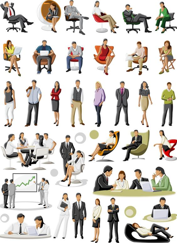 Business people vector. Big collection of 3 sets with various.
