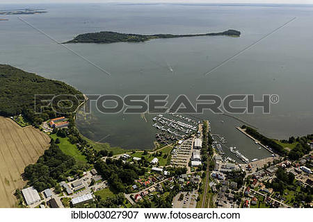 """Picture of """"Aerial view, port of Lauterbach looking towards the."""