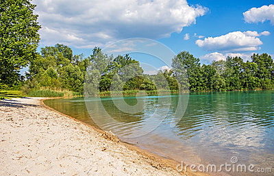 Beach At Lake Bassin Des Mouettes, France Stock Photo.