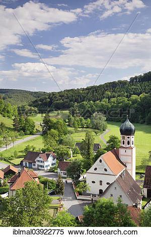 "Stock Image of ""Townscape, Bichishausen, Lautertal, Munsingen."