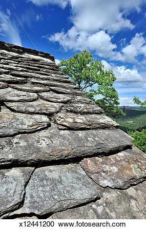 "Stock Photography of slate roof ""lauze"", trees, Lozère x12441200."