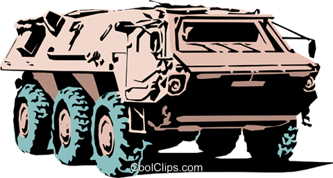 LAV vehicle Royalty Free Vector Clip Art illustration.