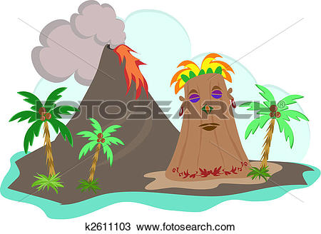 Clipart of Tiki Island with Lava Flow k2611103.