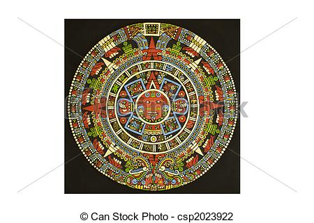 Stock Photo of Aztec calendar carved out of lava stone and colored.
