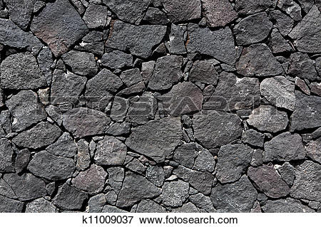 Picture of Black lava stone volcanic masonry wall k11009037.