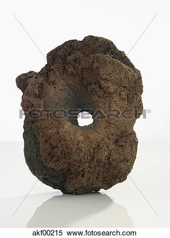 Stock Image of Close up of lava stone on white background akf00215.
