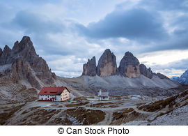 "Stock Images of Tre Cime di Lavaredo "" Drei Zinnen "" in Dolomite."