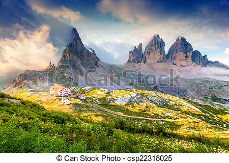 Stock Photo of Rifugio Lacatelli in National Park Tre Cime di.