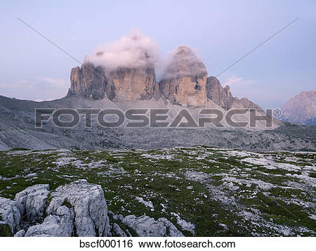 Stock Images of Europe, Italy, View of Tre Cime di Lavaredo at.