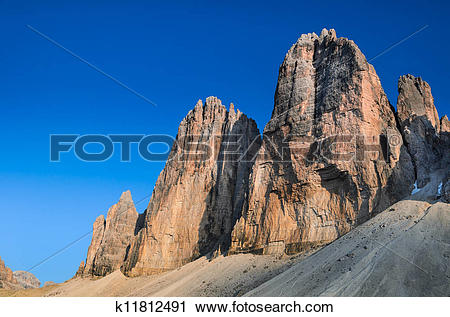 Stock Photography of Tre Cime di Lavaredo, Dolomite Alps k11812491.