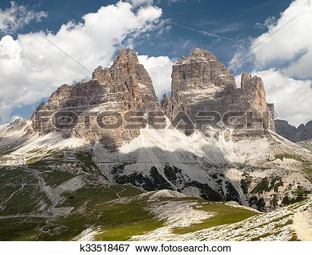 Picture of Drei Zinnen or Tre Cime di Lavaredo with beautiful sky.