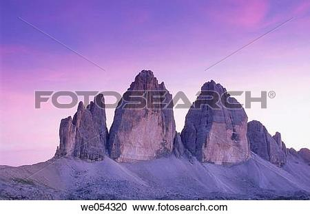 Stock Photography of Tre Cime di Lavaredo (2999 m.), Sexten.