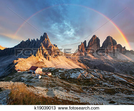 Stock Photo of Dolomites mountain in Italy at sunset.