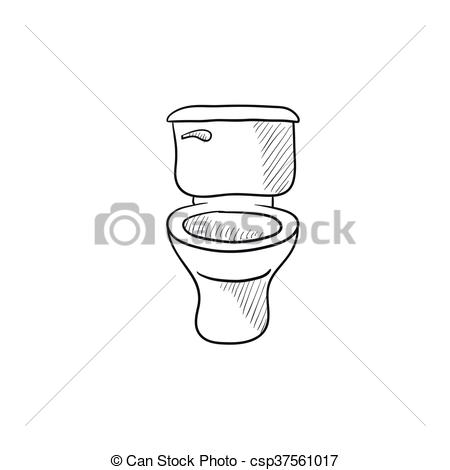 Vector Clip Art of Lavatory bowl sketch icon..