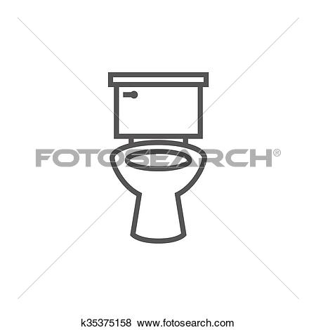 Clip Art of Lavatory bowl line icon. k35375158.