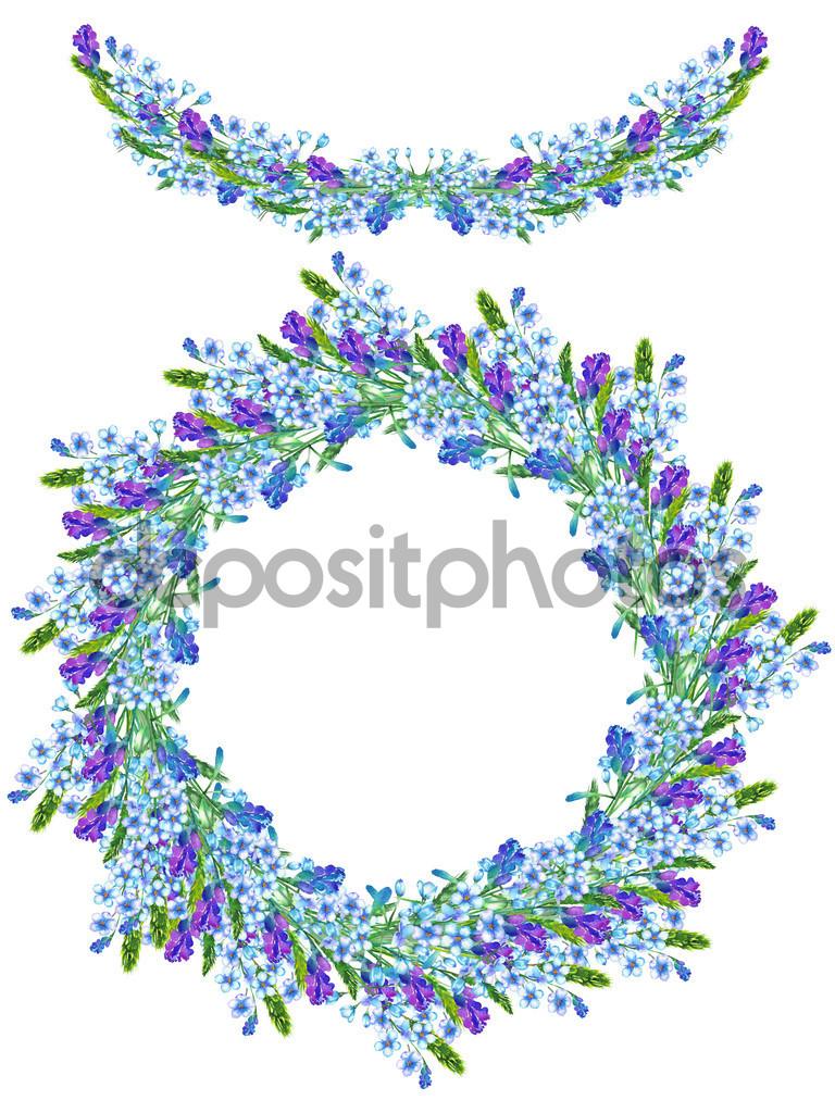 Rahmenrand, Garland und Kranz von Blumen Aquarell Blau.