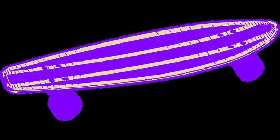 Kostenlose Vektorgrafik: Skateboard, Lila, Isoliert, Blau.
