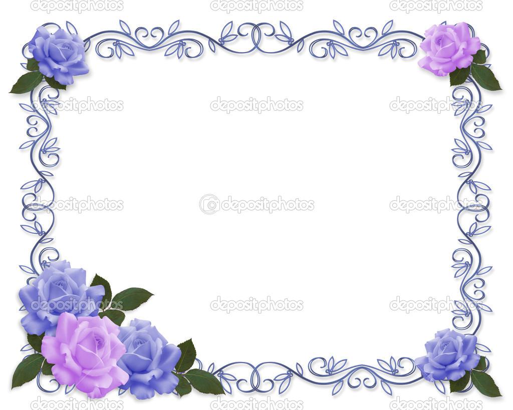 Hochzeit Einladung Rosen blau Lavendel — Stockfoto © Irisangel.