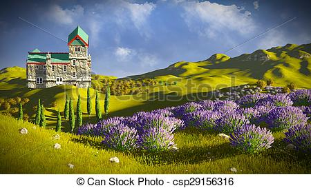 Clipart of Lavender fields around a castle csp29156316.
