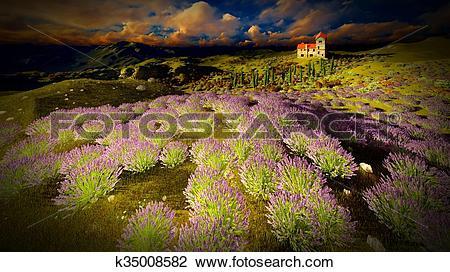 Clip Art of Castle towering 9ver lavender fields k35008582.