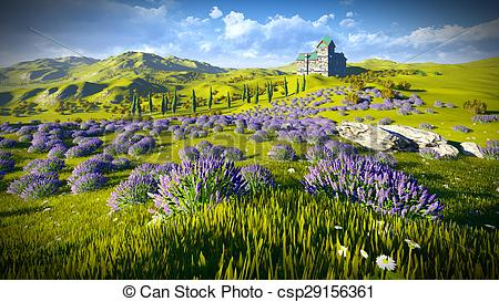 Stock Illustration of Lavender fields around a castle csp29156361.