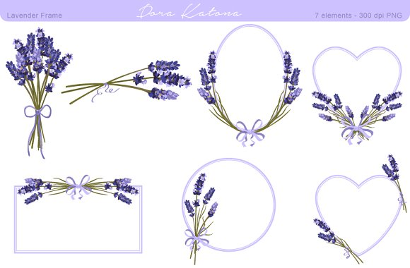 Lavender Flower Frame and Clipart ~ Graphics on Creative Market.