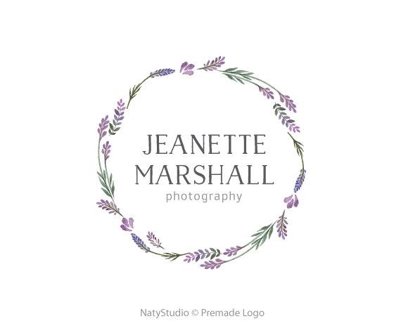 Lavender wreath logo flowers logo custom logo design premade.