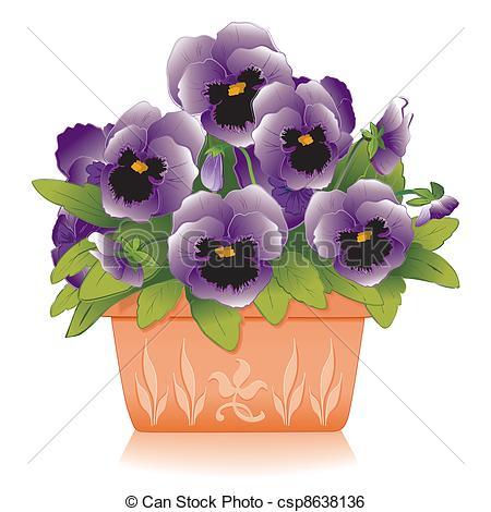 Clip Art Vector of Lavender Pansies, Clay Flowerpot.