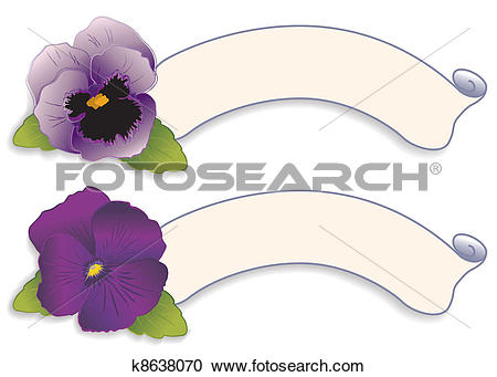 Clipart of Label Tags, Purple Pansy Flowers k8638070.
