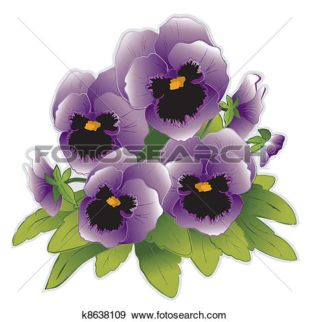 Clip Art of Lavender Pansy Flowers k8638109.