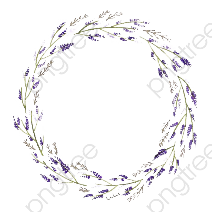 Lavender Wreath, Round, Branches And Leaves, Lavender PNG.