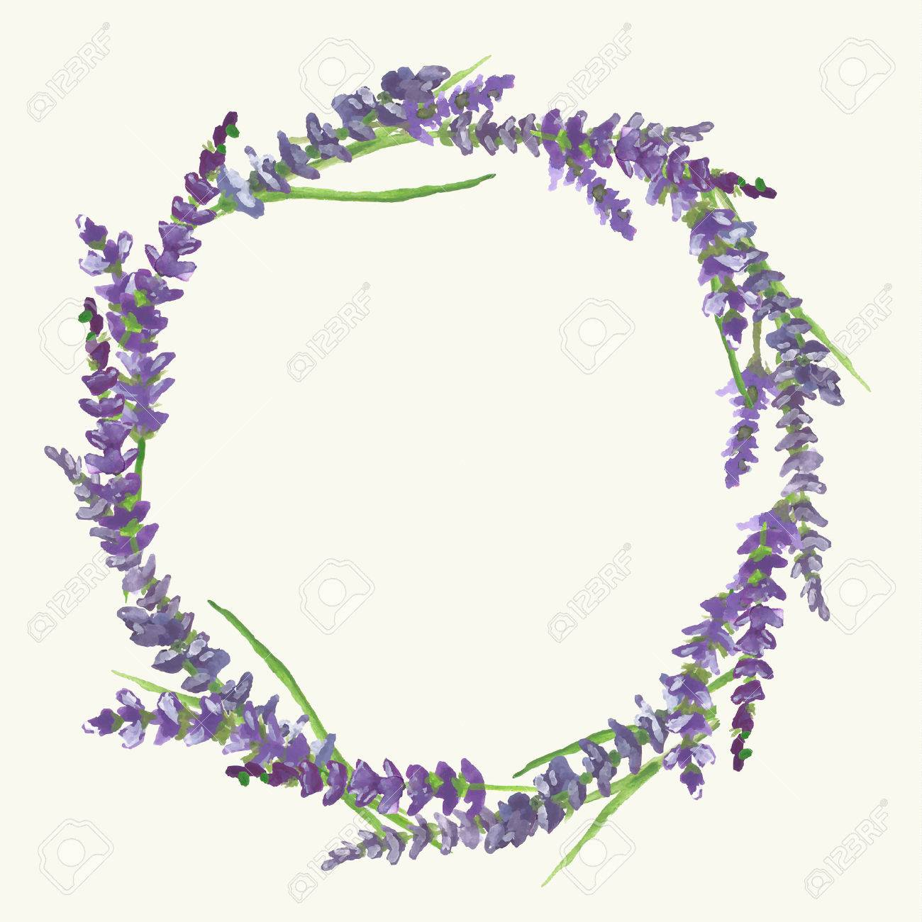 Lavender wreath on beige background in Provence style, watercolor...