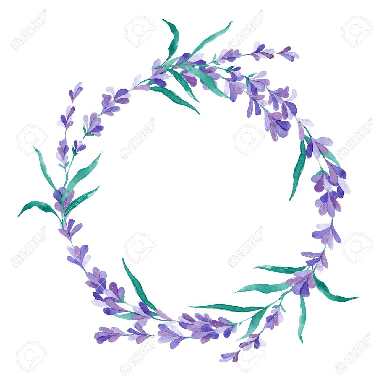 Watercolor vector lavender wreath in gentle style for wedding...