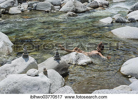 "Picture of ""Woman bathing in the mountain river of Maggia, Val."